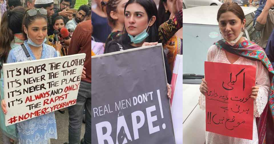 Ayesha Omar Mahira Khan Sarah Khan And Others Attend Protest For Motorway Rape Case 8